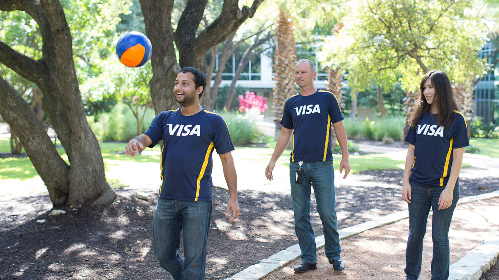Visa employees soccer ball