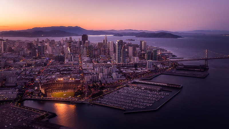 Aerial view of San Francisco bay.